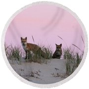 Fox And Vixen Round Beach Towel