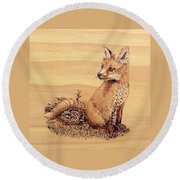 Fox Round Beach Towel by Ron Haist