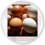 Framed Eggs Round Beach Towel by Tina M Wenger