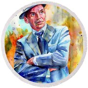 Frank Sinatra Young Painting Round Beach Towel