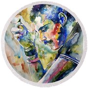 Freddie Mercury Watercolor Round Beach Towel