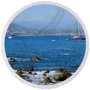 French Riviera Round Beach Towel