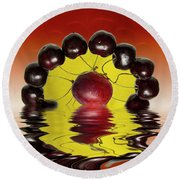 Fresh Cherries And Plums Round Beach Towel by David French