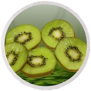 Fresh Kiwi Fruits Round Beach Towel