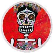 Round Beach Towel featuring the painting Frida Dia De Los Muertos by Pristine Cartera Turkus
