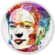 Frida Kahlo Grunge Round Beach Towel by Daniel Janda