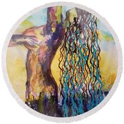 From The Depths Of The Ocean Round Beach Towel by Judi Goodwin