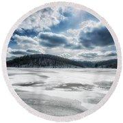 Frozen Lake Round Beach Towel by Thomas R Fletcher