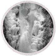 Frozen Multnomah Falls Round Beach Towel