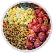 Tropical Fruits In Fruit Market, Krabi Town Round Beach Towel