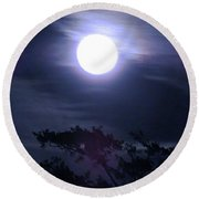 Full Moon Falling Round Beach Towel