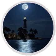 Round Beach Towel featuring the photograph Full Moon Over Hillsboro Lighthouse In Pompano Beach Florida by Justin Kelefas