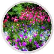 Garden Flowers With Tulips Round Beach Towel