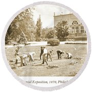 Gardeners, Centennial Exposition, 1876 Round Beach Towel
