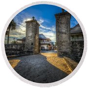 Gate To The City Round Beach Towel