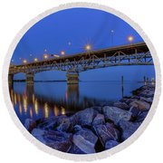Round Beach Towel featuring the photograph George P. Coleman Bridge by Jerry Gammon