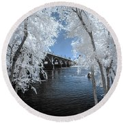 Gervais St. Bridge In Surreal Light Round Beach Towel