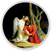Round Beach Towel featuring the painting Gethsemane by Carl Bloch