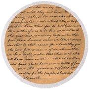 Gettysburg Address Round Beach Towel