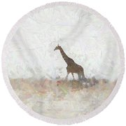 Giraffe Abstract Round Beach Towel by Ernie Echols