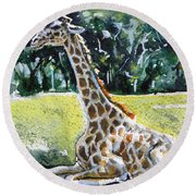 Round Beach Towel featuring the painting Giraffe by Kovacs Anna Brigitta