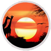 Giraffes At Sunset Round Beach Towel