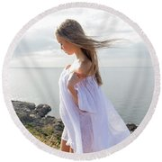 Girl In A White Dress By The Sea Round Beach Towel