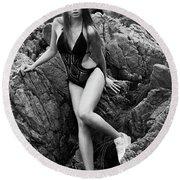 Girl In Black Swimsuit Round Beach Towel