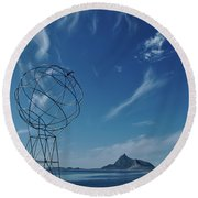 Globe Symbol View  On Sky Background In Norway Round Beach Towel