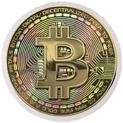 Gold Bitcoin Effigy Over Black Canvas Round Beach Towel