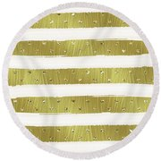 Gold Hearts Stripes Round Beach Towel