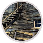 Golden Barn  Round Beach Towel