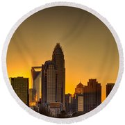 Golden Charlotte Skyline Round Beach Towel