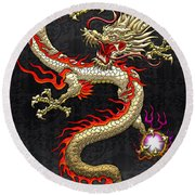 Golden Chinese Dragon Fucanglong  Round Beach Towel