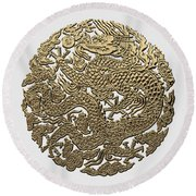 Golden Chinese Dragon White Leather  Round Beach Towel