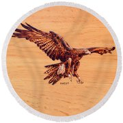 Golden Eagle Round Beach Towel by Ron Haist