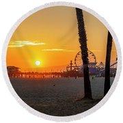 Golden Glow At Sunset Round Beach Towel