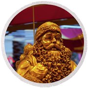 Golden Idol Round Beach Towel