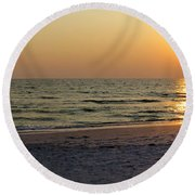 Golden Setting Sun Round Beach Towel