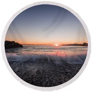 Kiss Of The Night Round Beach Towel by Sabine Edrissi