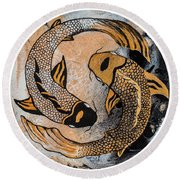 Round Beach Towel featuring the painting Golden Yin And Yang by Darice Machel McGuire