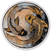 Golden Yin And Yang Round Beach Towel