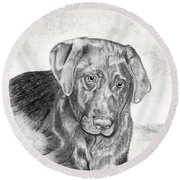 Round Beach Towel featuring the drawing Gozar by Mayhem Mediums