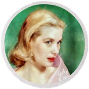 Grace Kelly By John Springfield Round Beach Towel