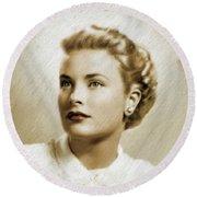 Grace Kelly, Vintage Actress Round Beach Towel