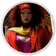 Colored Girl Round Beach Towel