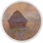 Grainstack, Sun In The Mist Round Beach Towel
