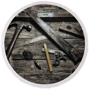 Round Beach Towel featuring the photograph Granddad's Tools by Mark Fuller