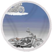 Round Beach Towel featuring the drawing Grandson by Terry Frederick