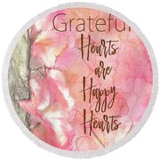 Grateful Hearts Round Beach Towel